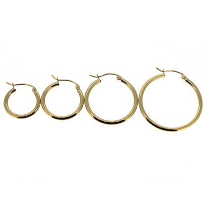 Wholesale 14K Solid Gold Plain Hoop Earrings  - Hollow Light Weight Hoops 2mm  Thickness (Sold per pair)