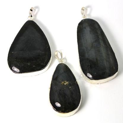 Wholesale Natural Labradorite Pendant, Labradorite Charm-Large Organic Randomly Shaped - 38mm -Silver Plated