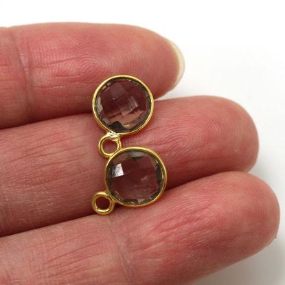 Wholesale Small Round Bezel Pendant- Bezel Gemstone Pendant-Bezel Charms-Jewelry Findings-Round Bezel Gemstone -Smokey Quartz 8mm (2 pcs) (ONE OF A KIND)