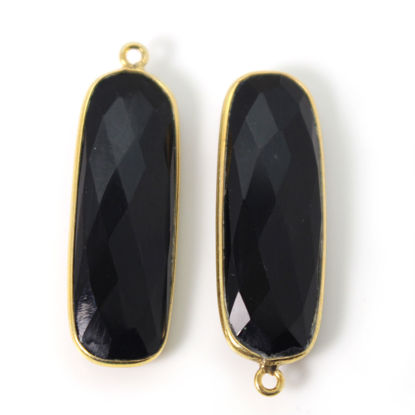 Wholesale Gold Over Sterling Silver Bezel Pendant - 34x11mm Elongated Rectangle Shape - Black Onyx