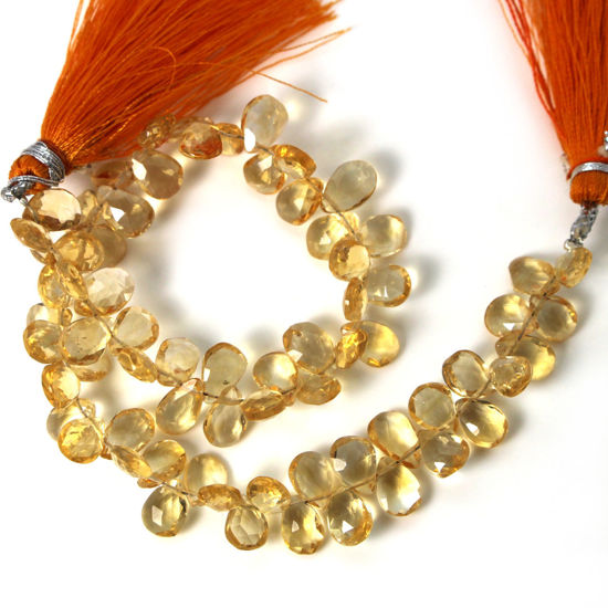 Wholesale Semiprecious Gemstone Beads - 100% Genuine Citrine Gemstone Bead - Faceted Pear Shape - (Sold Per Strand)