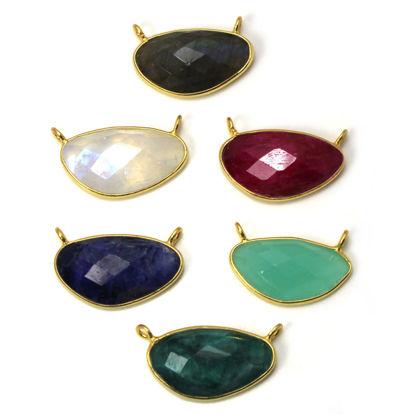 Wholesale Gold  Bezel Gemstone Pendant-Kidney Shape -(ONE OF A KIND)
