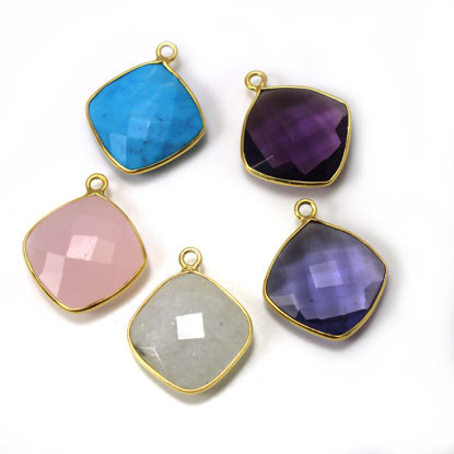 Wholesale One of A Kind- Gold Over Sterling Silver Bezel Gemstone Pendant- CUSHION Shape