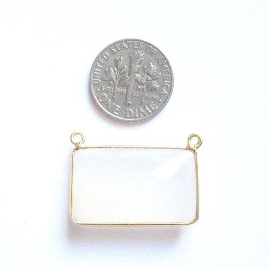 Wholesale Gold  Bezel Gemstone Connectors-Rectangle Bar Connector -White chalcedony(ONE OF A KIND)
