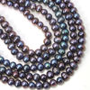 Wholesale Freshwater Pearls, 6-6.5mm Off Round Peacock Color Commercial grade - June Birthstone (Sold Per Strand)