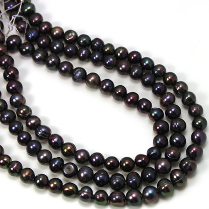 Wholesale Freshwater Pearls, 7-8mm Off Round Peacock Color Commercial grade - June Birthstone (Sold Per Strand)