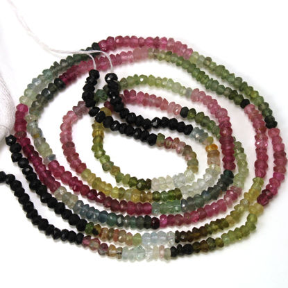 Wholesale Tourmaline Semiprecious Gemstone Beads - Faceted Rondelle Beads -  13 inches