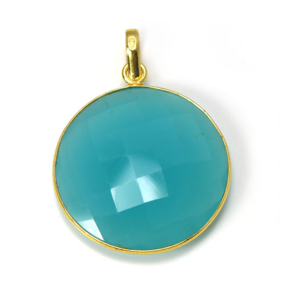 Wholesale Gold Over Sterling Silver Bezel Gemstone Pendant -HUGE Round Shape - Peru CHALCEDONY -30 mm (ONE OF A KIND)