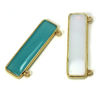 Wholesale One of A Kind- Gold Over Sterling Silver Bezel Gemstone Connector - Smooth Bar 40mm