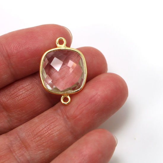 Wholesale One of A Kind- Gold Over Sterling Silver Bezel Gemstone Connectors- 15mm Faceted Square Shape -  Crystal