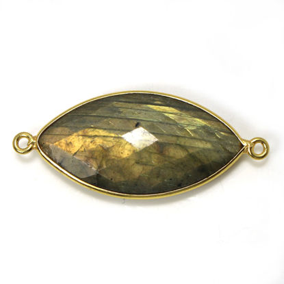 Wholesale One of a Kind- Gold Plated Sterling Silver Bezel Gemstone Connector- Marquise Shape - Labradorite