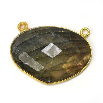 Wholesale One of a Kind- Gold Plated Sterling Silver Bezel Gemstone Connector- Triangle Shape - Labradorite