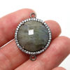 Wholesale One of a Kind- Oxidized Sterling Silver Bezel Pave Gemstone Connector- Round Shape - Labradorite