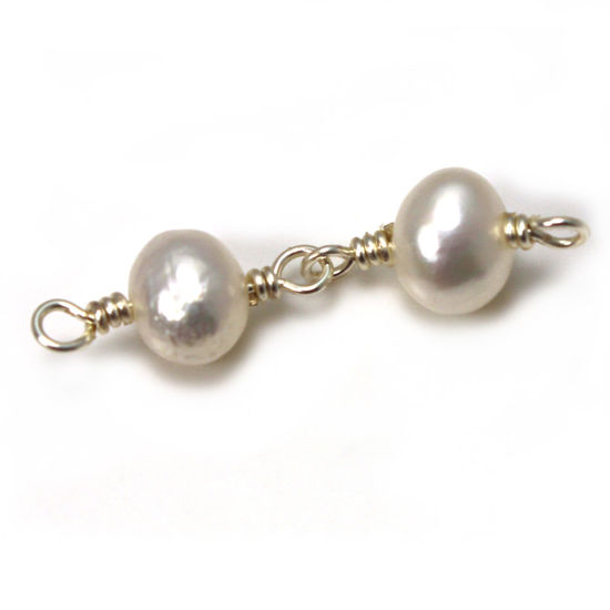 Wholesale Double Pearl Connectors - 5-6mm (sold per piece)