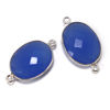 Wholesale Sterling Silver Bezel Gemstone Links - Faceted Oval Shape - Blue Chalcedony