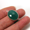 Wholesale Sterling Silver Bezel Gemstone Links - Faceted Oval Shape -Green Onyx -May birthstone