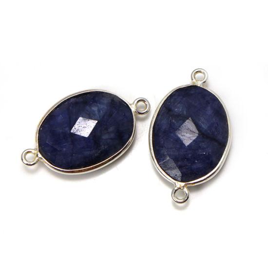 Wholesale Sterling Silver Bezel Gemstone Links - Faceted Oval Shape -Blue Sapphire