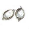 Wholesale Sterling Silver Bezel Gemstone Links - Faceted Oval Shape -Crystal - April Birthstone