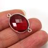 Wholesale Sterling Silver Bezel Gemstone Links - Faceted Oval Shape -Rubelite Quartz- July Birthstone