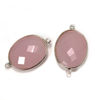 Wholesale Sterling Silver Bezel Gemstone Links - Faceted Oval Shape -Pink Chalcedony