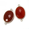 Wholesale Sterling Silver Bezel Gemstone Links - Faceted Oval Shape -Carnelian