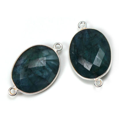 Wholesale Sterling Silver Bezel Gemstone Links - Faceted Oval Shape -EMERALD -May birthstone
