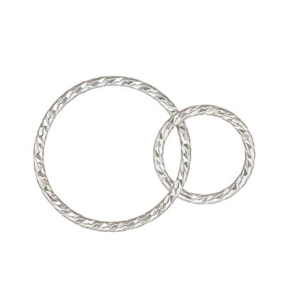 Wholesale Sterling Silver Interlocking Sparkle Connectors - 15mm & 10mm (sold per piece)