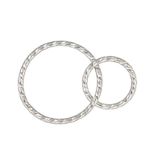 Wholesale Sterling Silver Interlocking Sparkle Connectors - 15mm & 10mm (sold per piece)
