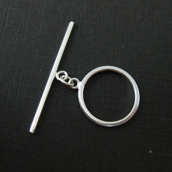 Wholesale Sterling Silver Simple Round Toggle with Bar 16mm (1 Set)