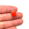 Wholesale Sterling Silver Bezel Gemstone Pendant - 10x14mm Faceted Small Teardrop - CORAL