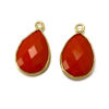 Wholesale 22K Gold Over Sterling Silver Bezel Gemstone Pendant - 10x14mm Faceted Small Teardrop - Coral