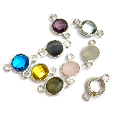 Wholesale One of a kind -Small Round Bezel Connectors-6mm (ONE OF A KIND)