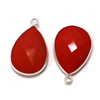 Wholesale Sterling Silver Bezel Gemstone Pendant - 13x18mm Faceted Teardrop Bezel - Coral