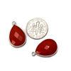 Wholesale Sterling Silver Bezel Gemstone Pendant - 13x18mm Faceted Teardrop Bezel - Coral