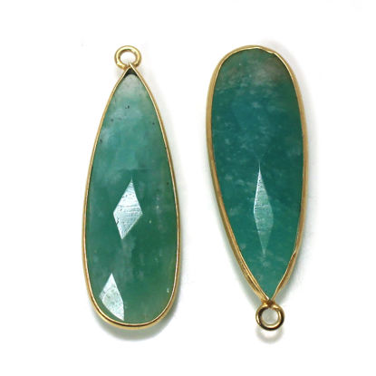 Wholesale 22K Gold Over Sterling Silver Bezel Gemstone Pendant - 10x30mm Faceted Long Teardrop Bezel - Natural Amazonite