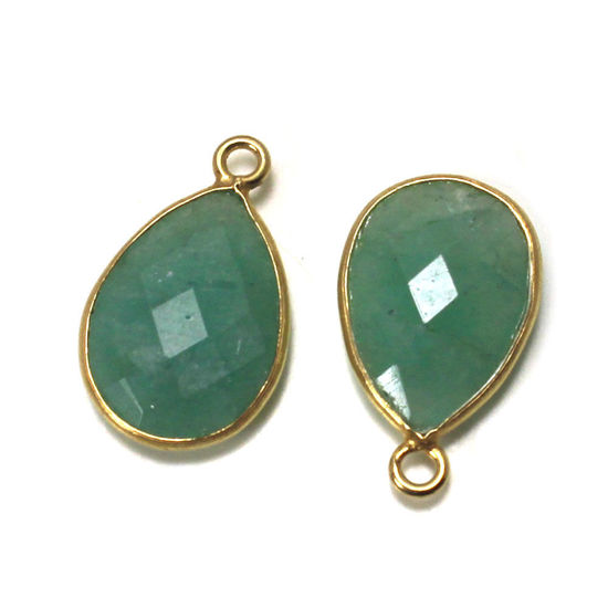 Wholesale 22K Gold Over Sterling Silver Bezel Gemstone Pendant - 10x14mm Faceted Long Teardrop Bezel - Natural Amazonite