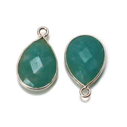 Wholesale Sterling Silver Bezel Gemstone Pendant - 10x14mm Faceted Long Teardrop Bezel - Natural Amazonite