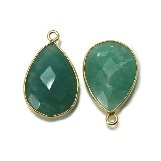 Wholesale 22K Gold Over Sterling Silver Bezel Gemstone Pendant - 13x18mm Faceted Long Teardrop Bezel - Natural Amazonite