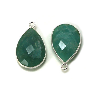 Wholesale Sterling Silver Bezel Gemstone Pendant - 13x18mm Faceted Long Teardrop Bezel - Natural Amazonite