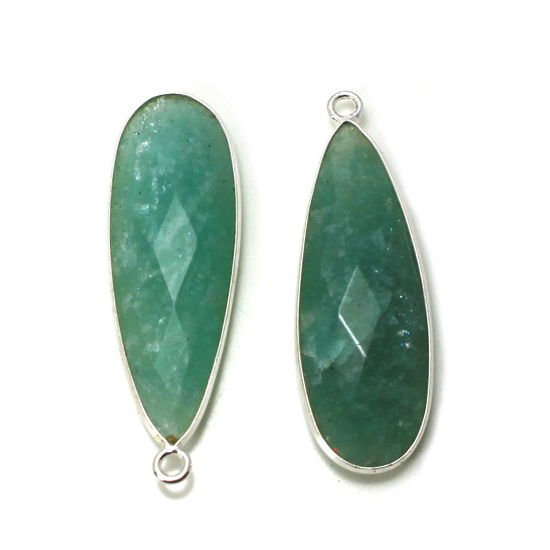 Wholesale Sterling Silver Bezel Gemstone Pendant - 10x30mm Faceted Long Teardrop Bezel - Natural Amazonite