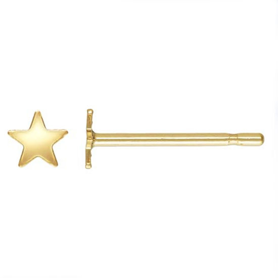 Wholesale 14K Solid Yellow Gold  3.5mm Star Post Earring