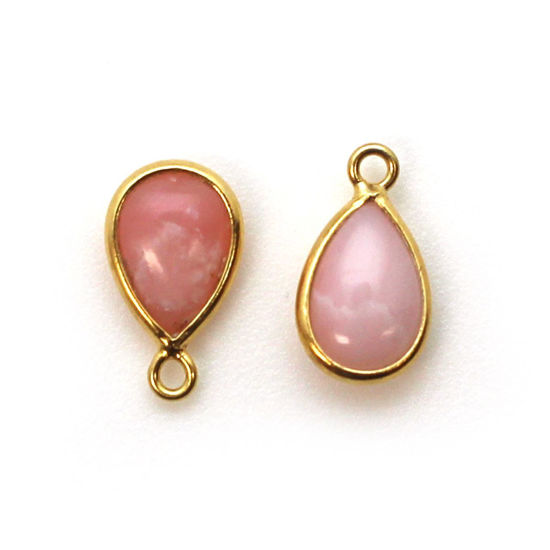 Wholesale Bezel Charm Pendant - Gold Plated Sterling Silver Charm - Natural Pink Opal - Tiny Teardrop Shape- October Birthstone