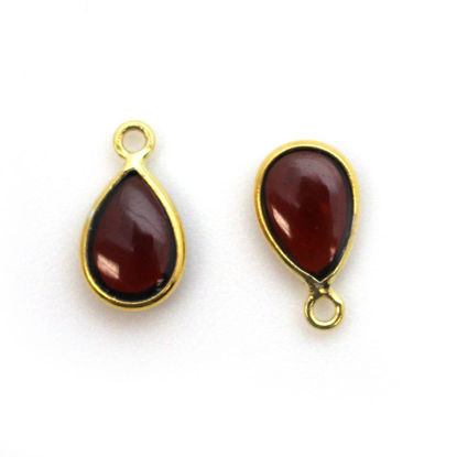 Wholesale Bezel Charm Pendant - Gold Plated Sterling Silver Charm - Natural Garnet -Tiny Teardrop Shape