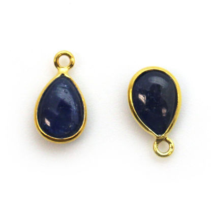 Wholesale Bezel Charm Pendant - Gold Plated Sterling Silver Charm - Natural BlueSapphire -Tiny Teardrop Shape