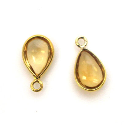 Wholesale Bezel Charm Pendant - Gold Plated Sterling Silver Charm - Natural Citrine -Tiny Teardrop Shape