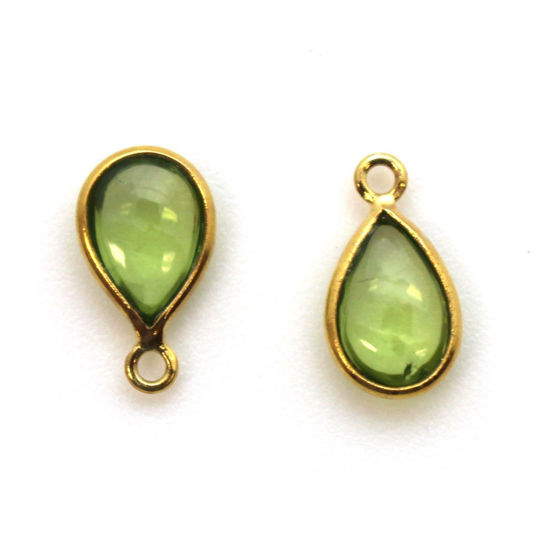 Wholesale Bezel Charm Pendant - Gold Plated Sterling Silver Charm - Natural Peridot -Tiny Teardrop Shape