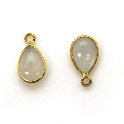 Wholesale Bezel Charm Pendant - Gold Plated Sterling Silver Charm - Natural Moonstone -Tiny Teardrop Shape