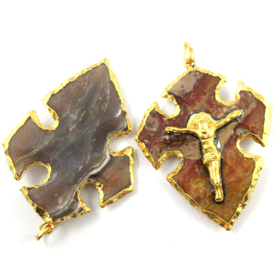Wholesale Natural Agate Jasper Druzy Cross Pendant for Necklace, 24K Gold Plated Brass Crucifix-Holy Cross Pendant