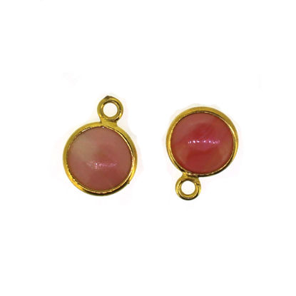 Wholesale Bezel Charm Pendant - Gold Plated Sterling Silver Charm - Natural Pink Opal - Tiny Round Shape - October Birthstone