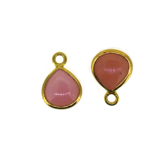 Wholesale Bezel Charm Pendant - Gold Plated Sterling Silver Charm - Natural Pink Opal - 7mm Tiny Heart Shape-October Birthstone